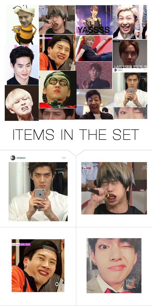 """""""Kpop Funny Faces"""" by smileyface48 ❤ liked on Polyvore featuring art"""