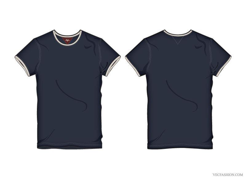Download Men Ringer Tee Vector Template Iconshots Kaos Desain