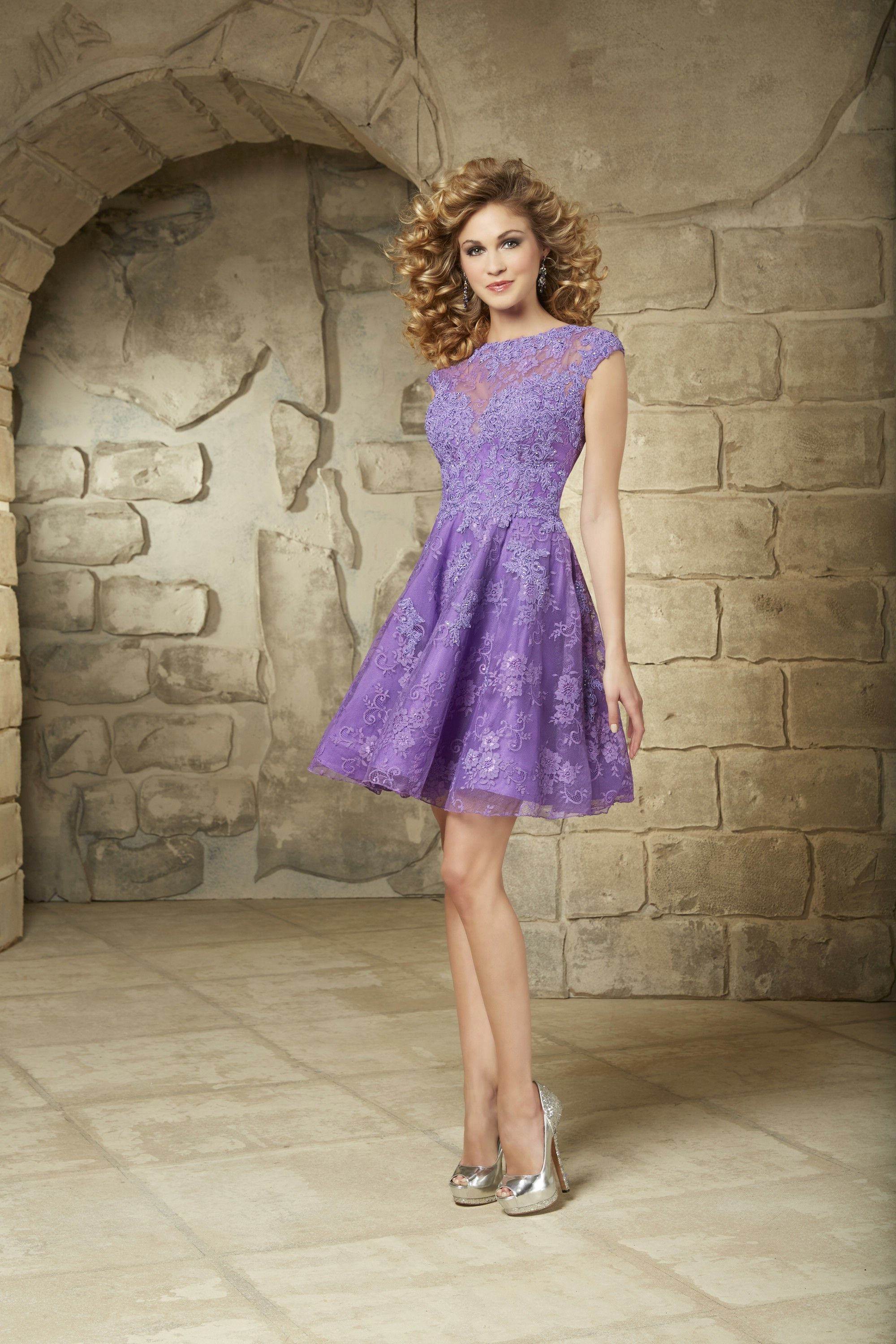 Wishesbridal Lovely O Neck Short Lilac #Lace A Line Cocktail ...