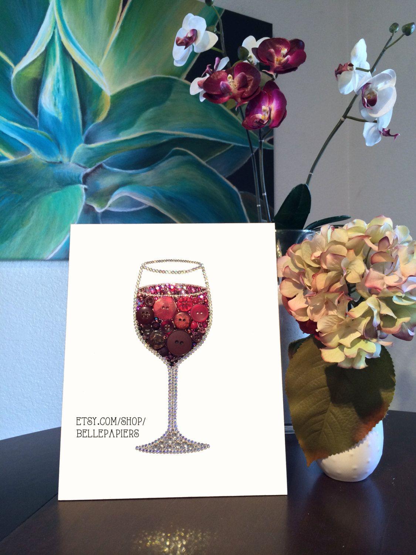 8x10 Button Art Wine Glass Decoration Red Wine Art by BellePapiers, $174.00