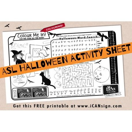 Halloween Activity Sheet with Sign Language ASL Pinterest Sign