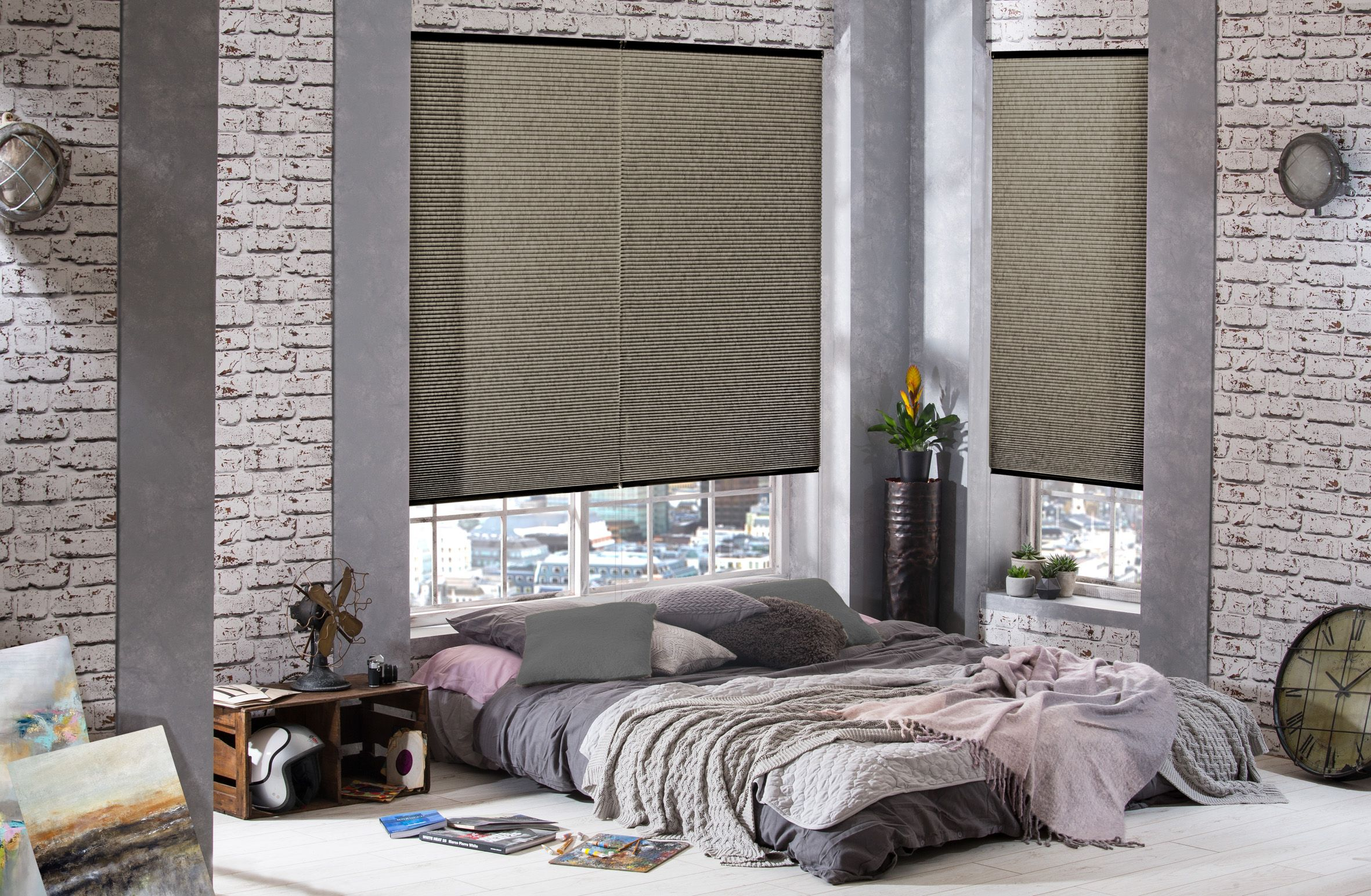 Bed near window design  hive blinds from style studio grey blinds bedroom blinds modern