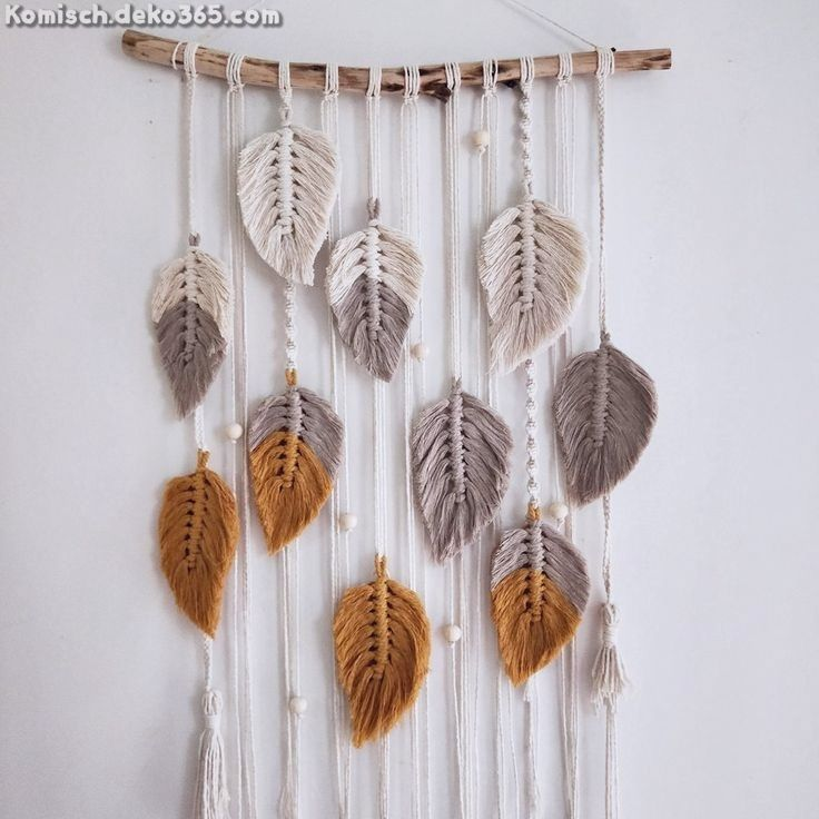 Elegante Fallende Blätter Makramee Wandteppich #selbstgemachtezimmerdeko
