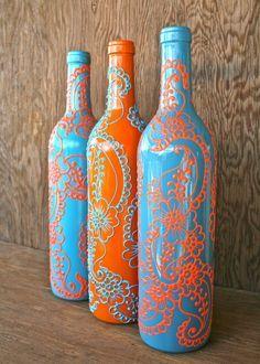 Set De 3 Botellas De Vino Pintado A Mano Floreros Por Lucentjane