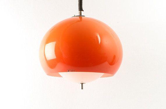 Vintage Orange Spheric Ceiling Light Orange Pendant Lamp 70 S Retro Home Decor Designer Lamp Meblo Ato Ceiling Lights Retro Ceiling Lights Retro Home Decor