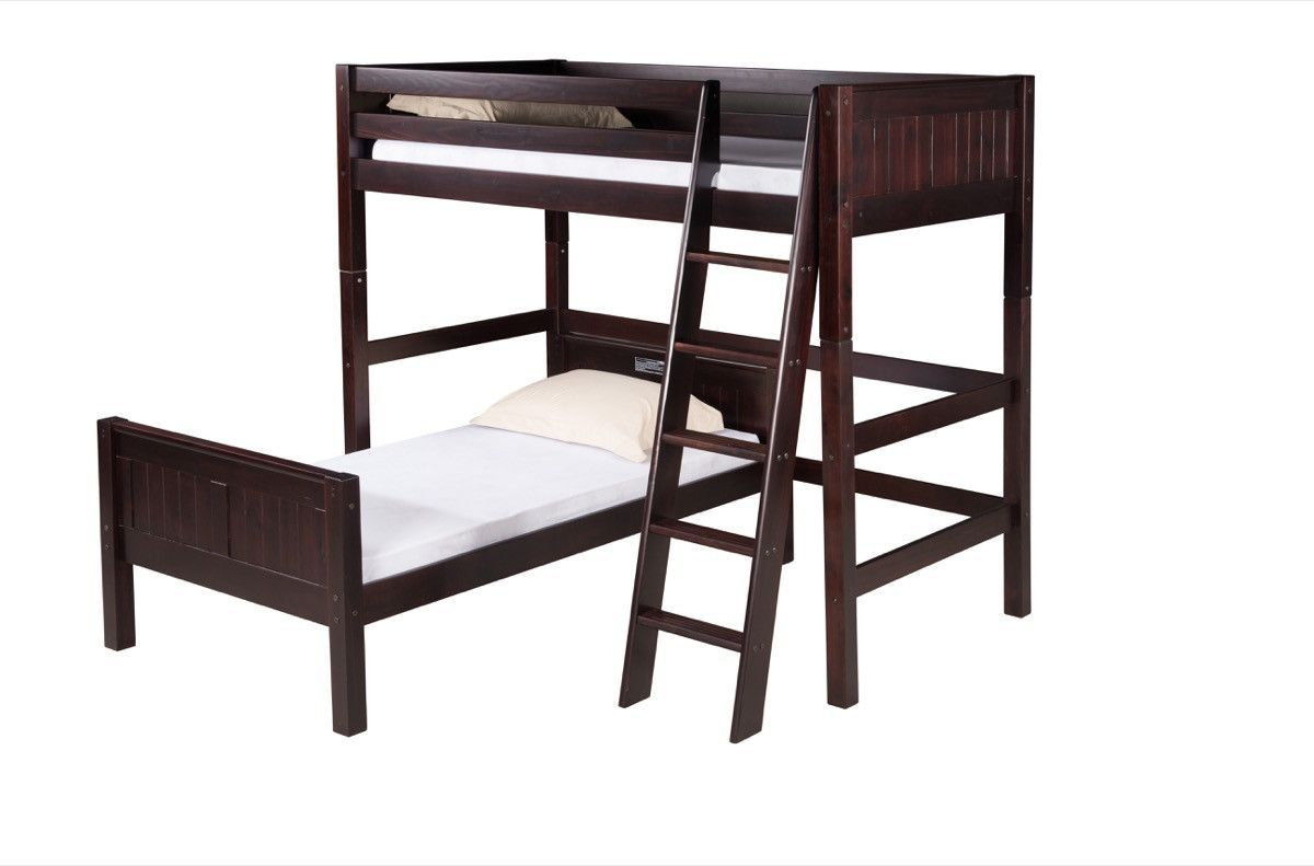 Camaflexi Twin over Twin Loft Bed - L Shape - Panel Headboard - Cappuccino Finish - C1822_CP