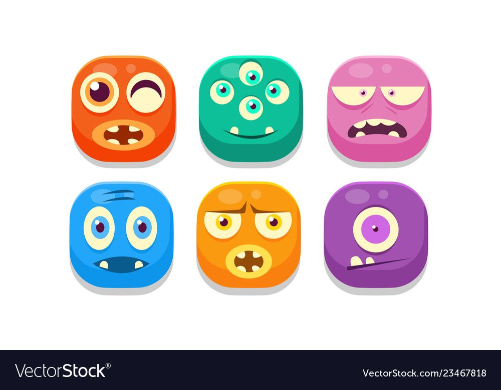 Collection of bright buttons emoticons with Vector Image ,