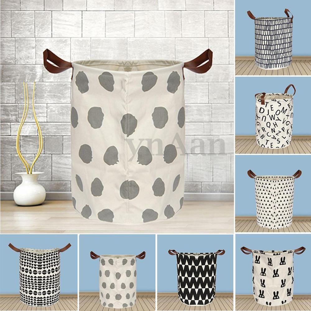 Large Canvas Toy Clothes Basket Storage Bin Laundry Washing Bag