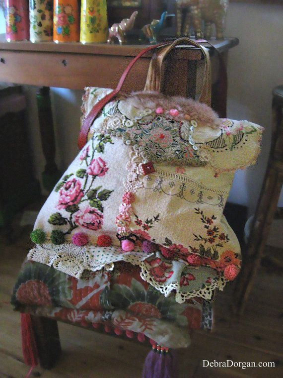 Roses Bag Large Vintage Linens Embroideries by AllThingsPretty