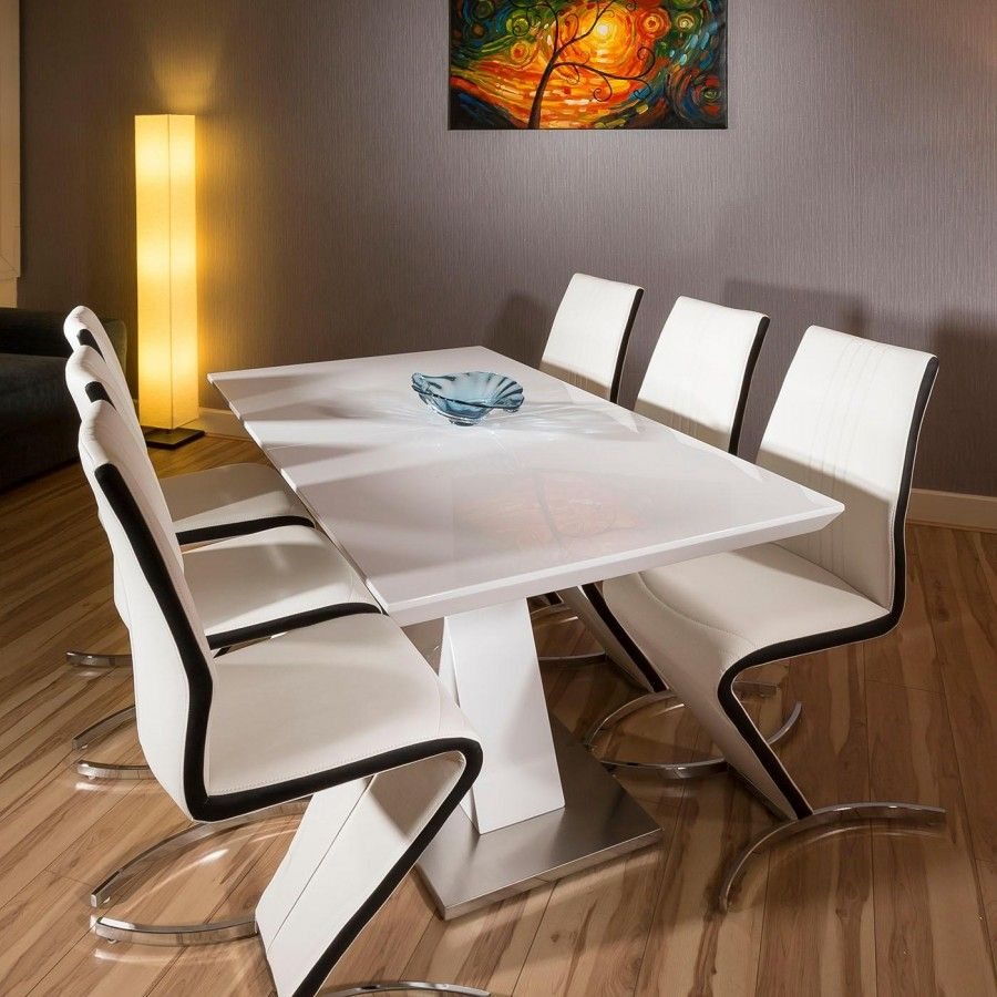 Dining Set White Gloss Extending Table 6 Black Stripe Z Chairs Large