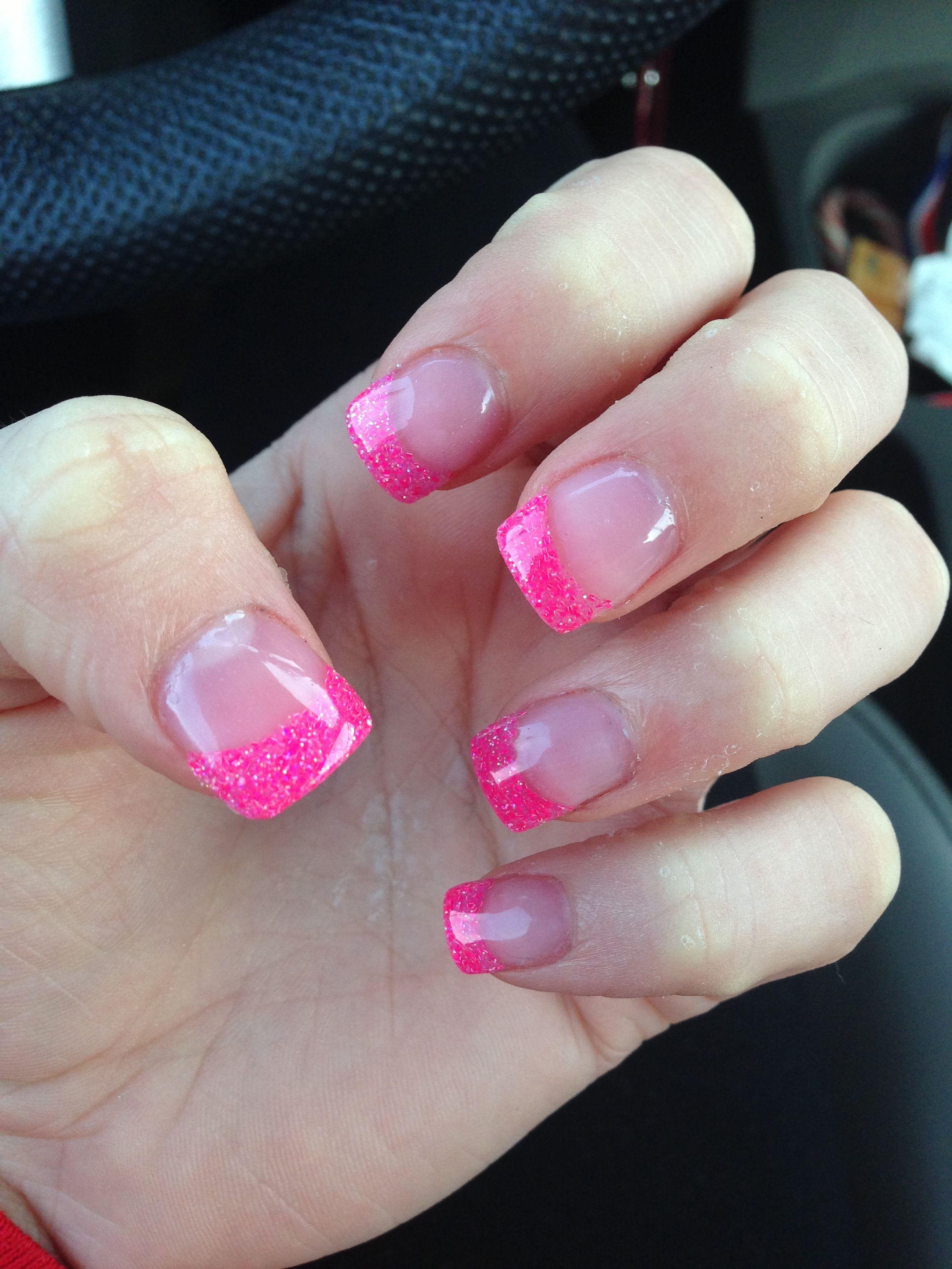 pink sparkly tip acrylic nails beauty acrylic nails