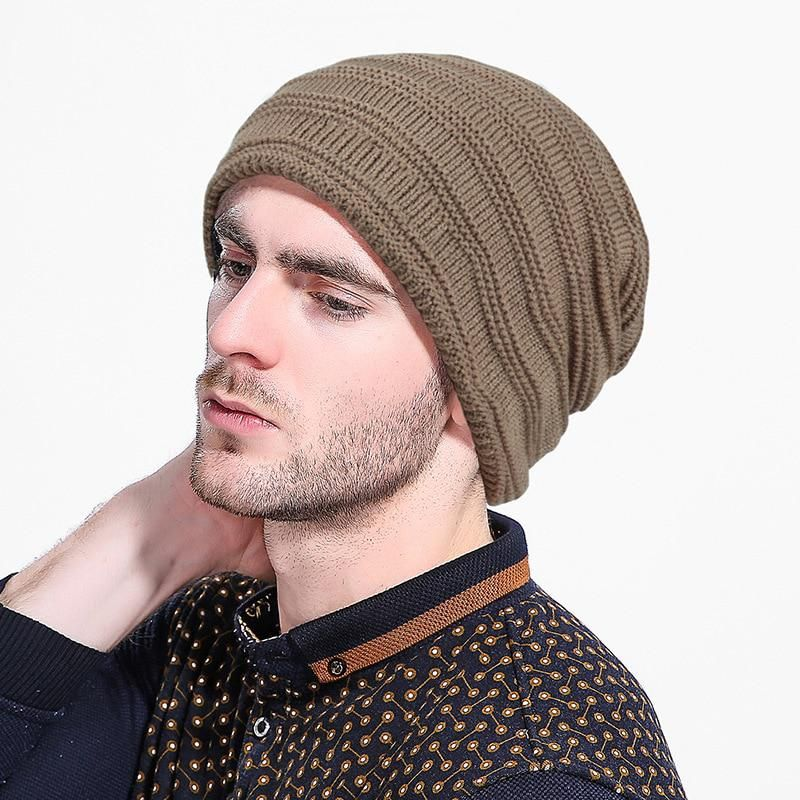 Unisex Men Winter Warm Knitted Wool Cashmere Crochet Slouch Ski Cap Beanie Hat