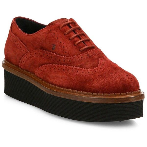 Tod's Suede Wingtip Platform Oxfords ($760) ❤ liked on Polyvore featuring shoes, oxfords, apparel & accessories, suede wingtip oxfords, lace up shoes, suede wingtip shoes, suede shoes and platform oxford shoes