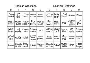 Spanish greetings bingo and vocabulary list los saludos spanish 30 bingo cards printed 2 per page to practice 24 greetings and farewells includes word list students will love this have a student look at the list of m4hsunfo