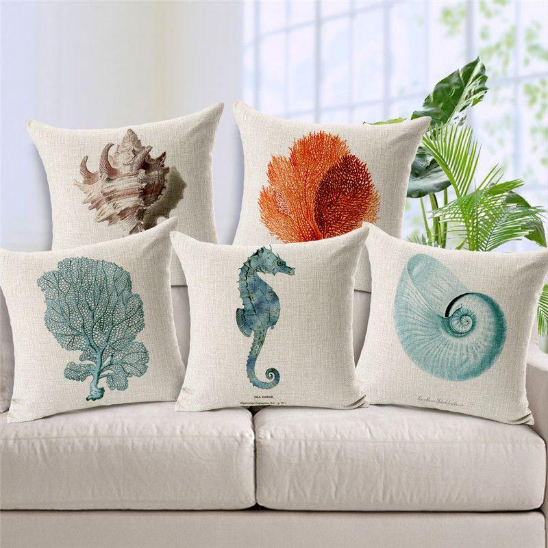 2016 Mediterranean Style Coral Pillowcase Linen Conch Starfish Cushion  Cover Shedd Aquarium Marine Biology Octopus Pillow