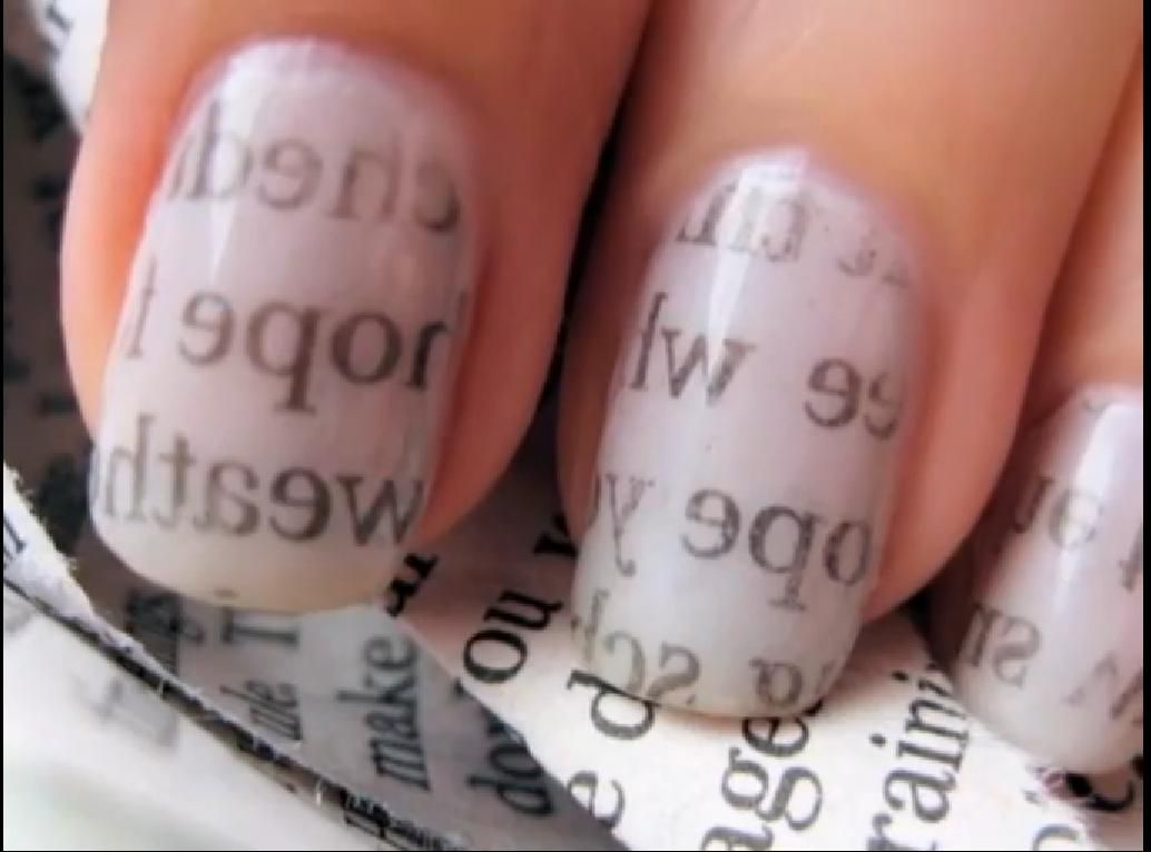 Newspaper nail art so easy I love doing this | nail art | Pinterest ...