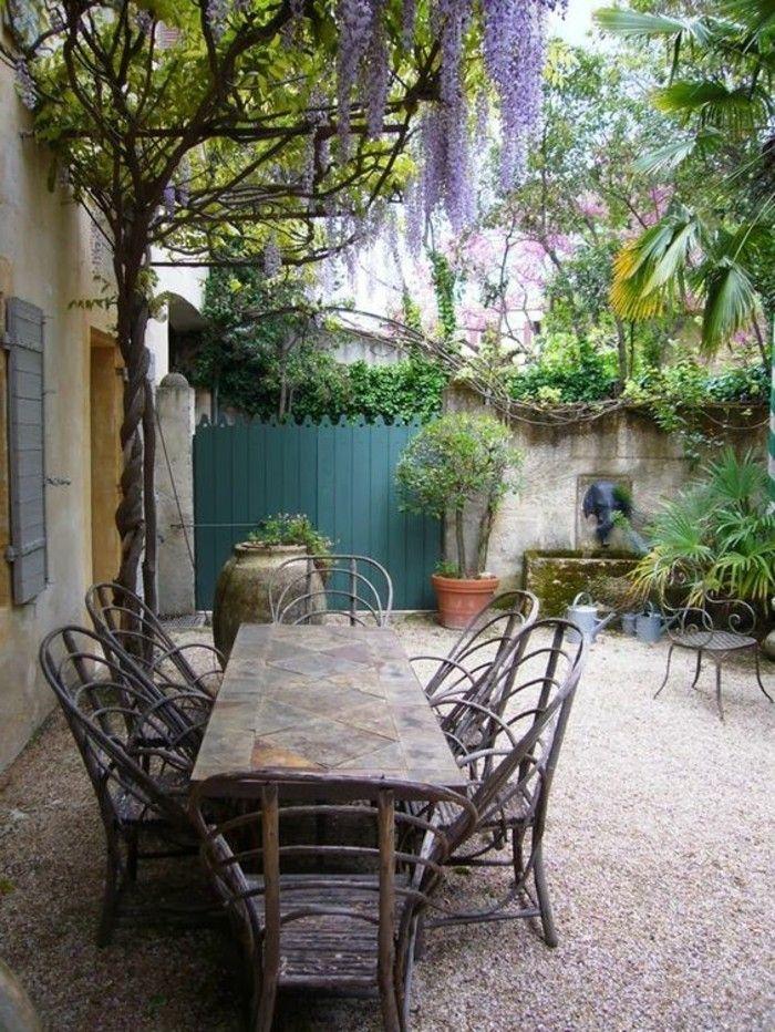 Mediterrane Gartengestaltung Gartenmöbel Und Gartenpflanzen Kies Nice Design
