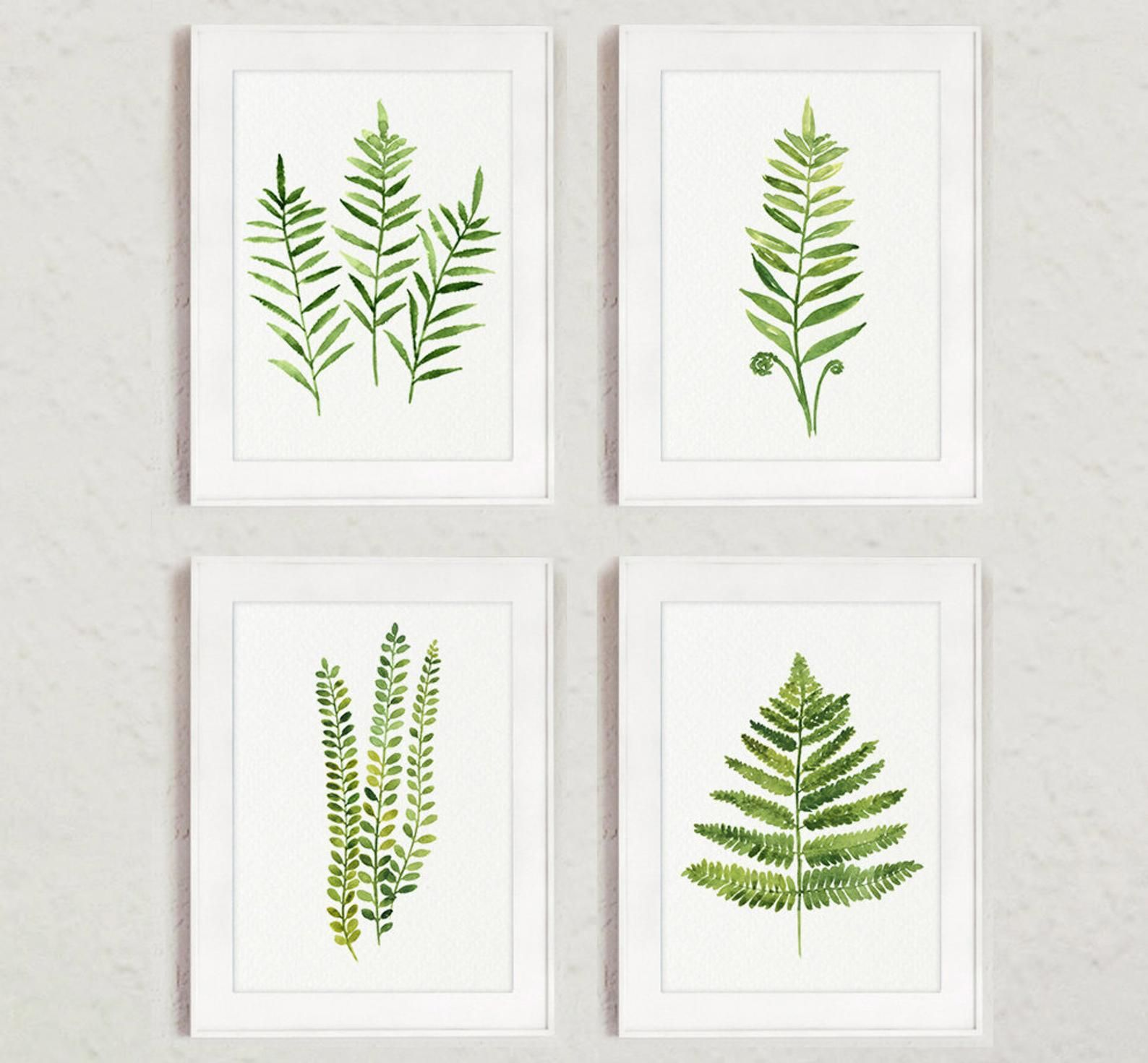 Fern painting green abstract leaf watercolor print set of