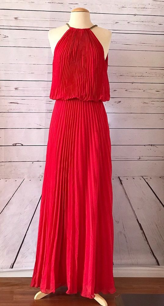 XSCAPE Red Pleated Sleeveless Blouson Gown Dress Size 8 Halter Prom ...
