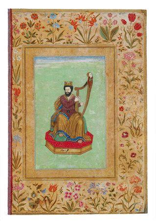 """Miniature opklæbet på et albumblad fra Shah Jahans periode. Den harpespillende kong David"""" / Miniature pasted on an album leaf from the period of Shah Jahan. """"King David Playing the Harp"""""""