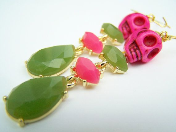 Hot Pink Skull Earrings  Luxe  Pink & Green by polishedtwo