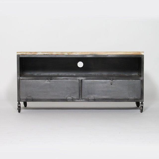 Meuble Tv En Metal Noir Avec 3 Tiroirs Mt 003 Meuble Tv En Metal Mobilier De Salon Meuble Tv Industriel