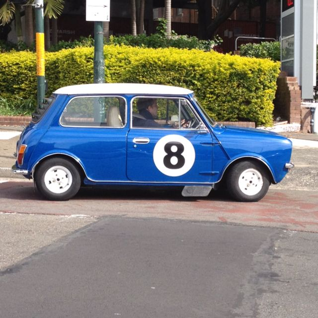 Car On Oxford St Retro Race Number On This Blue Mini Racing