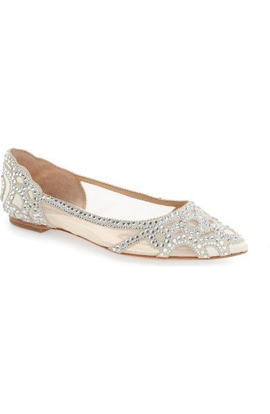 755ee2de8051 Badgley Mischka 'Gigi' Crystal Pointy Toe Flat (Women) available at  #Nordstrom