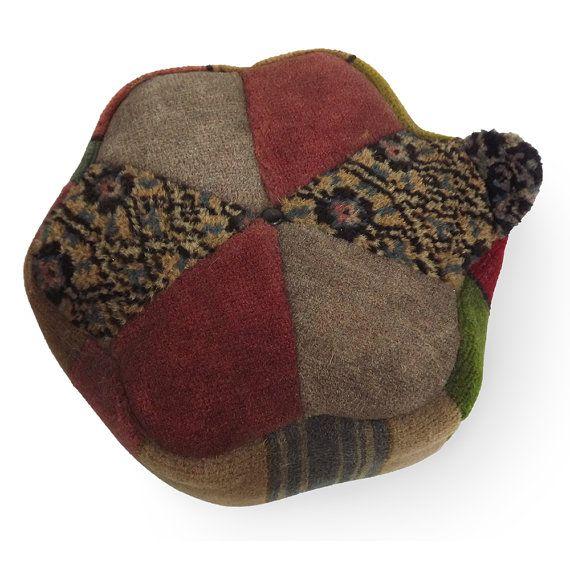 Vintage Wool Carpet Remnant Footstool Adorable Vintage