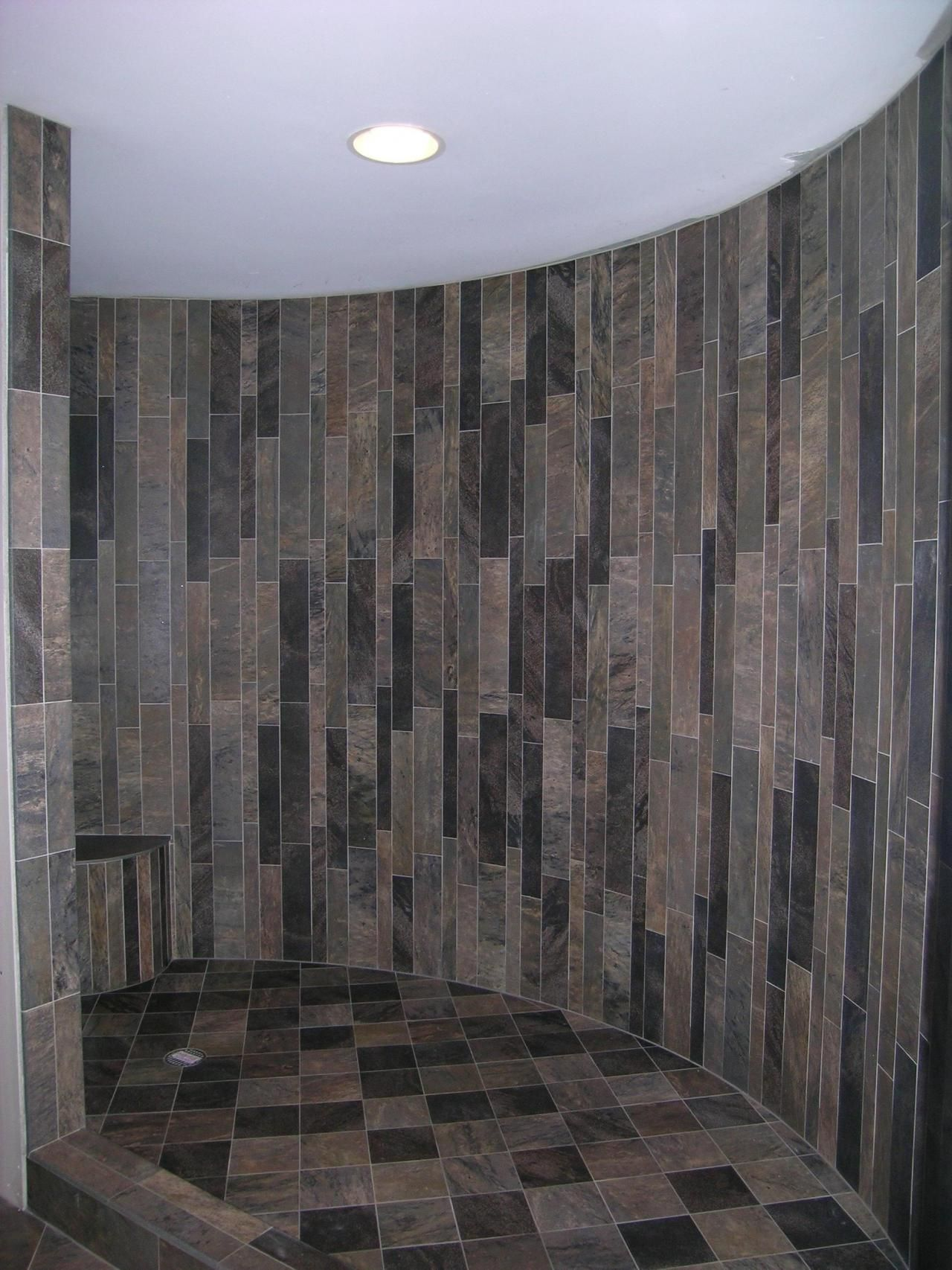 staggering wood wall tile. Staggered porcelain tile on curved shower wall  bath Pinterest