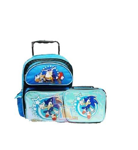Sonic The Hedgehog Large 16 Rolling Backpack With Lunch Bag Blue Nintendo Http Www Amazon Com Dp B008tj0ay0 Ref Cm Sw Blue Bags Rolling Backpack Backpacks