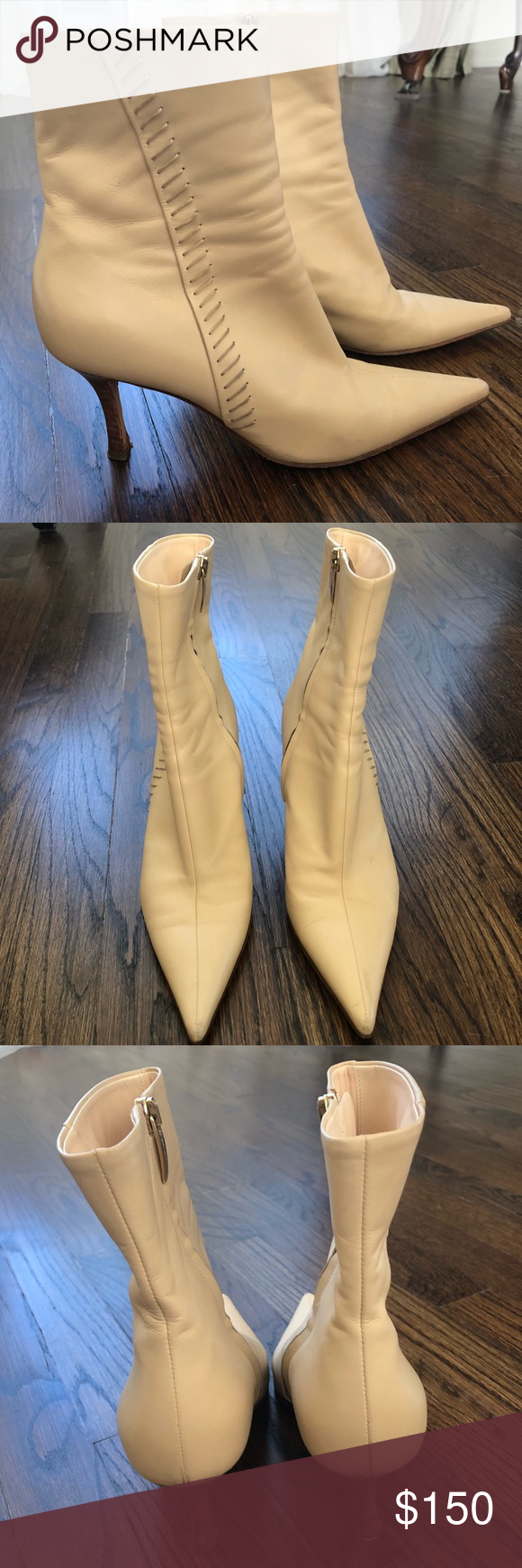 Sergio Rossi Leather Ankle Boots Size 36.5 Gorgeous Sergio Rossi Vero Cuoio off-white/cream point to...