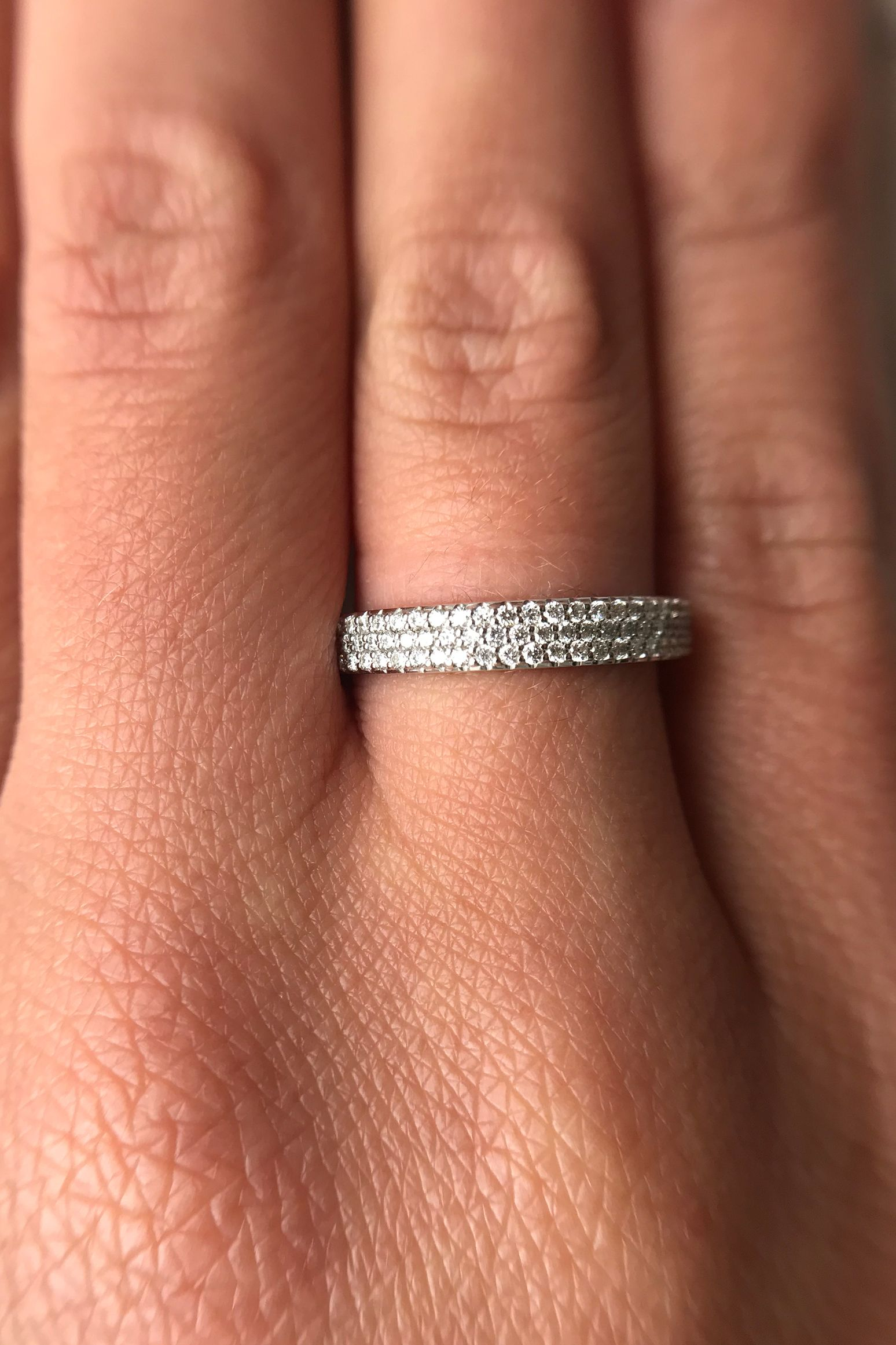 14k White Gold Filled Diamond Infinity Wedding Ring Pave Band Half Eternity Promise For Her Black Friday: Half Infinity Wedding Band At Websimilar.org