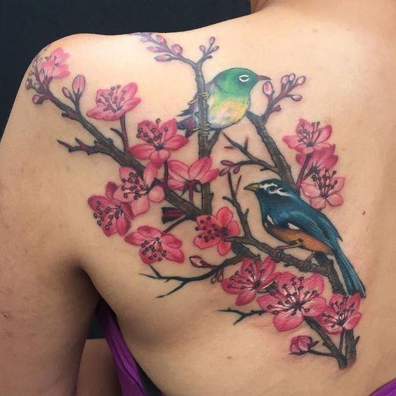 e199621e1ea13 Bonny colorful cherry blossom branch and birds tattoo on shoulder blade