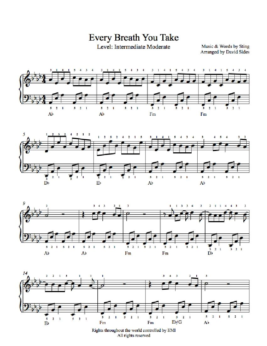 Every Breath You Take By The Police Piano Sheet Music