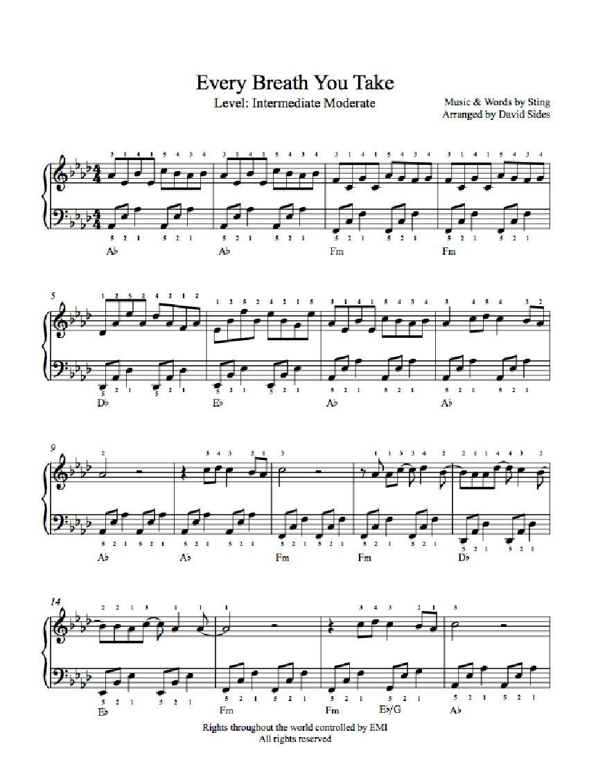 Every Breath You Take By The Police Piano Sheet Music Intermediate Level Sheet Music Piano Sheet Music Saxophone Music