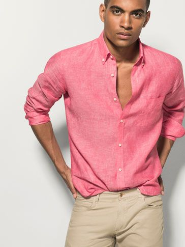 Coral linen shirt massimo dutti massimo dutti style for Coral shirts for guys