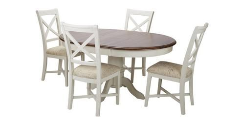 Clermont Round Extending Table & Set Of 4 Cross Back Chairs Mesmerizing Dfs Dining Room Furniture Decorating Inspiration