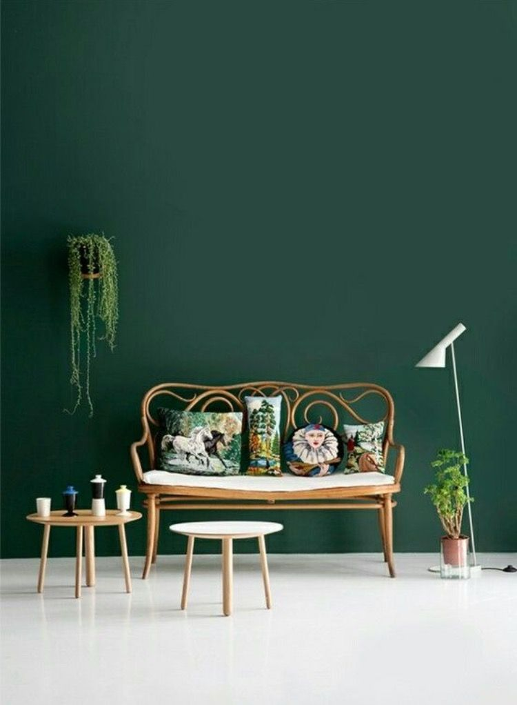 Dans le salon la peinture le mur est vert foncé et les meubles ...