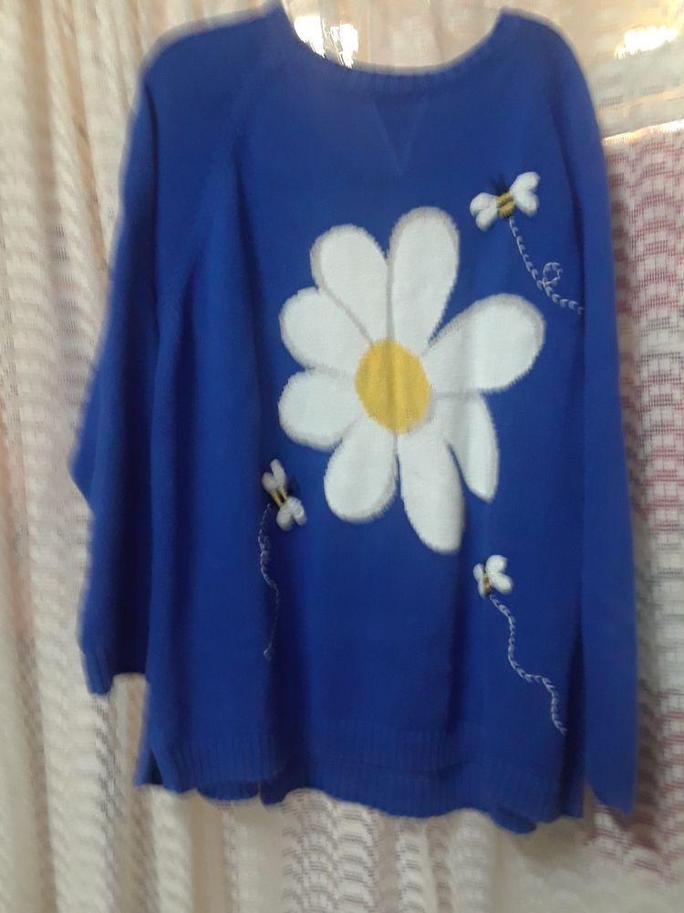 Quacker factory Woman's 3x Blue Flower Bees Sweater #fashion