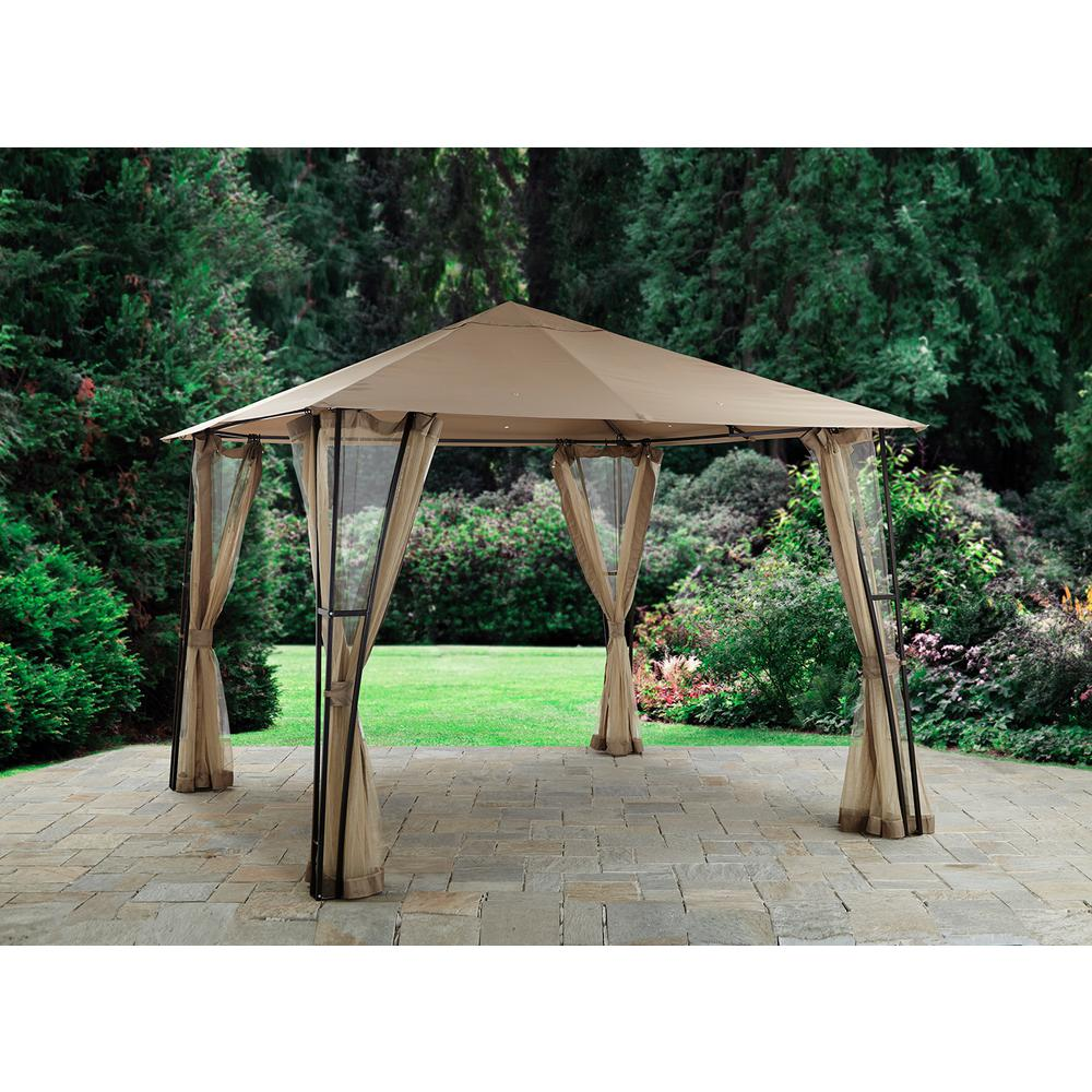 Hampton Bay Altoona 10 Ft X 10 Ft Roof Style Garden House 5lgz1291 V3 The Home Depot Gazebo Roof Styles Green Roof