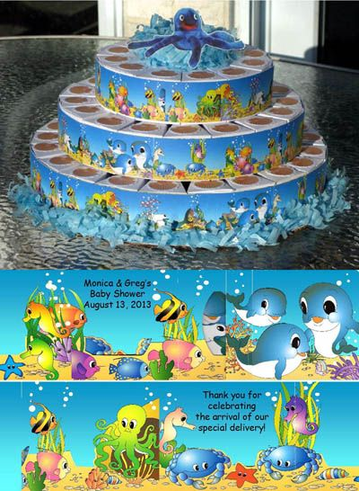 Lmk Gifts Baby Shower Under The Sea Ocean Favor Cake Centerpiece
