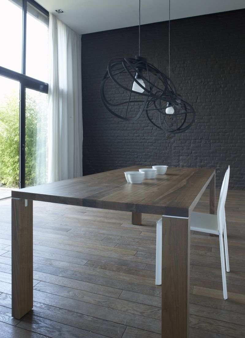Dedicato Walnut Fixed Dining Table In Oiled Varnished