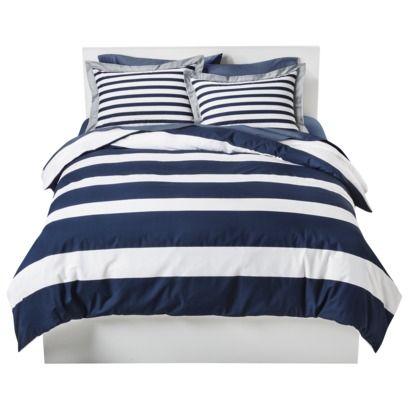 Room Essentials 174 Rugby Stripe Duvet Cover Navy Target