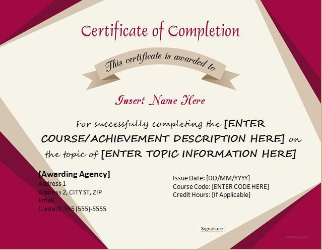 Certificate of completion for ms word download at http certificates of completion templates for ms word professional professional certificate templates yelopaper Gallery