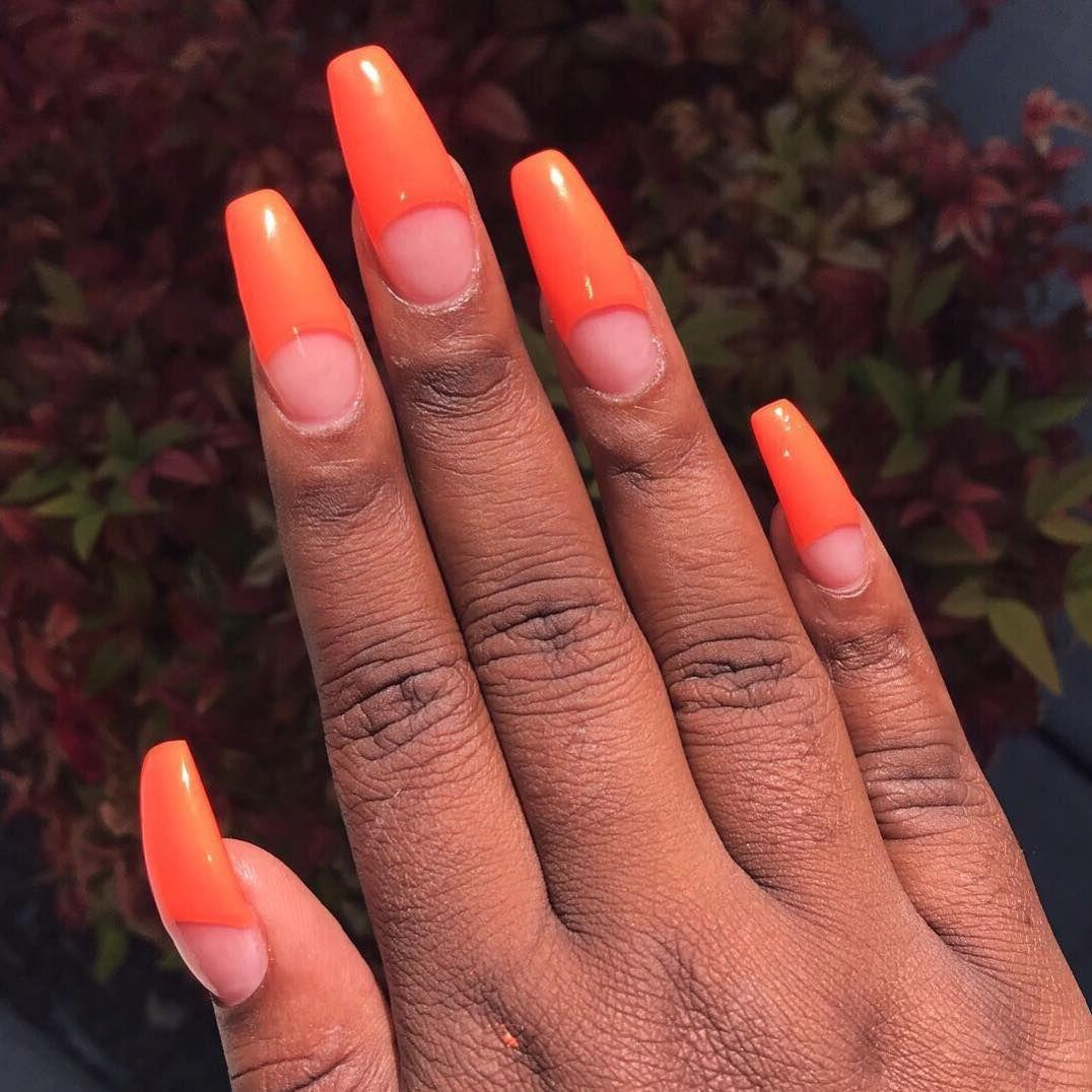 Neon orange for summer😍 Thanks Karen! nails nailporn