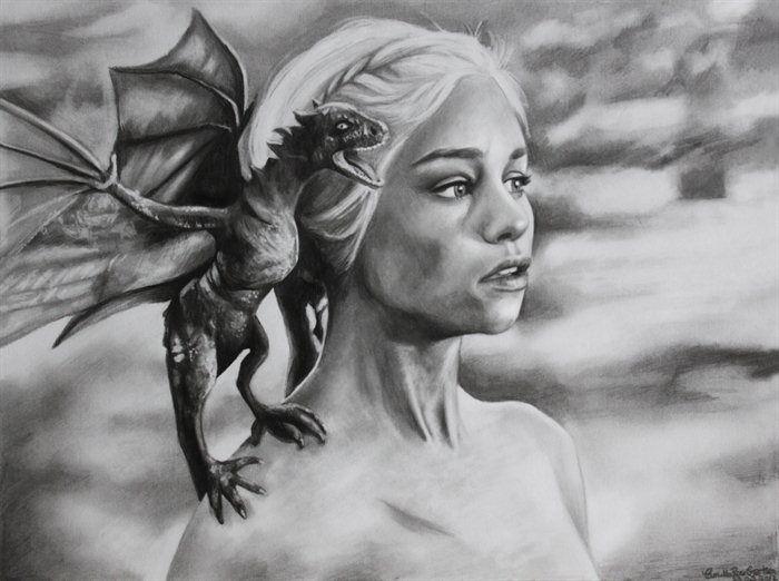 daenerys targaryen with her dragons drawing - Google Search