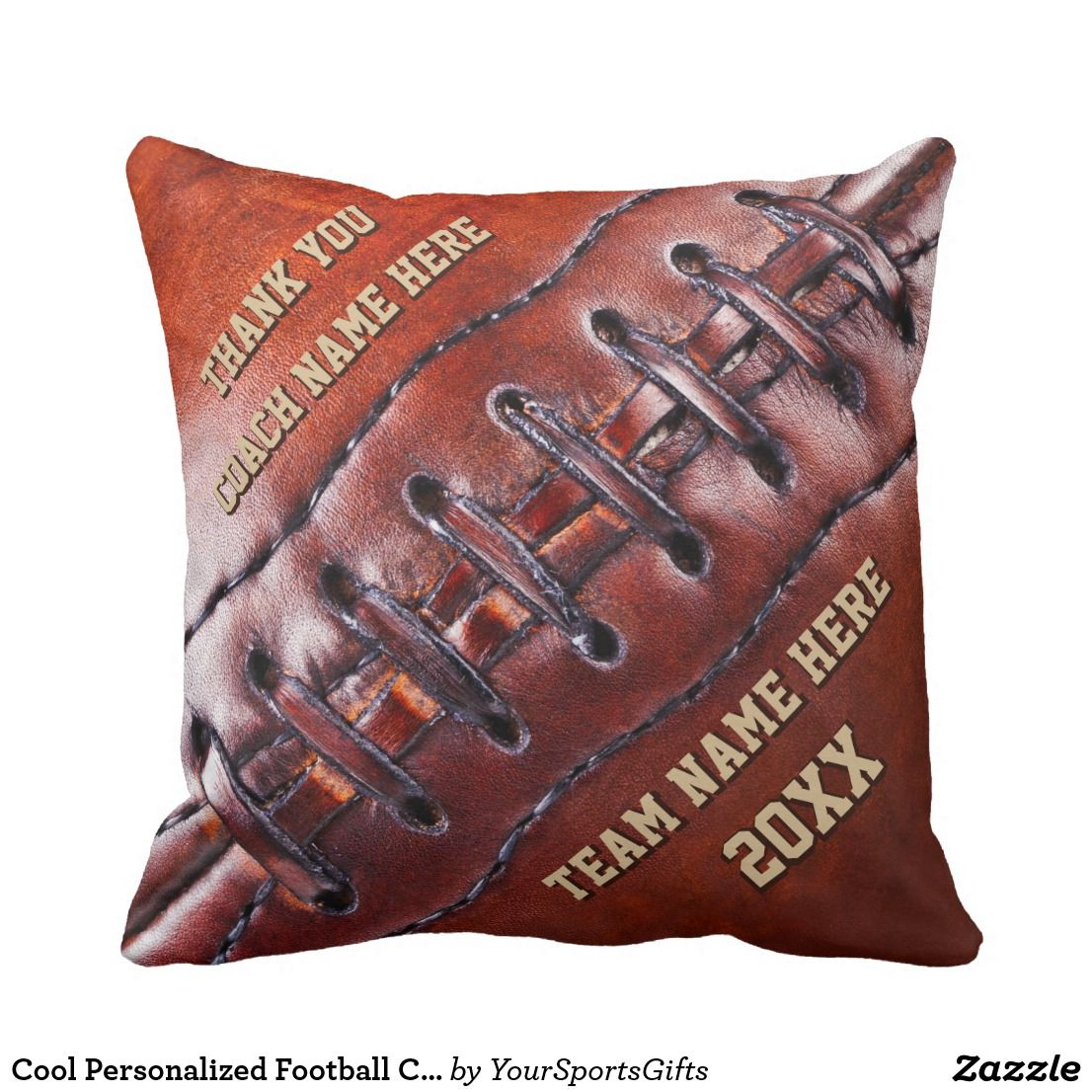 Cool personalized football coach gift ideas throw pillow