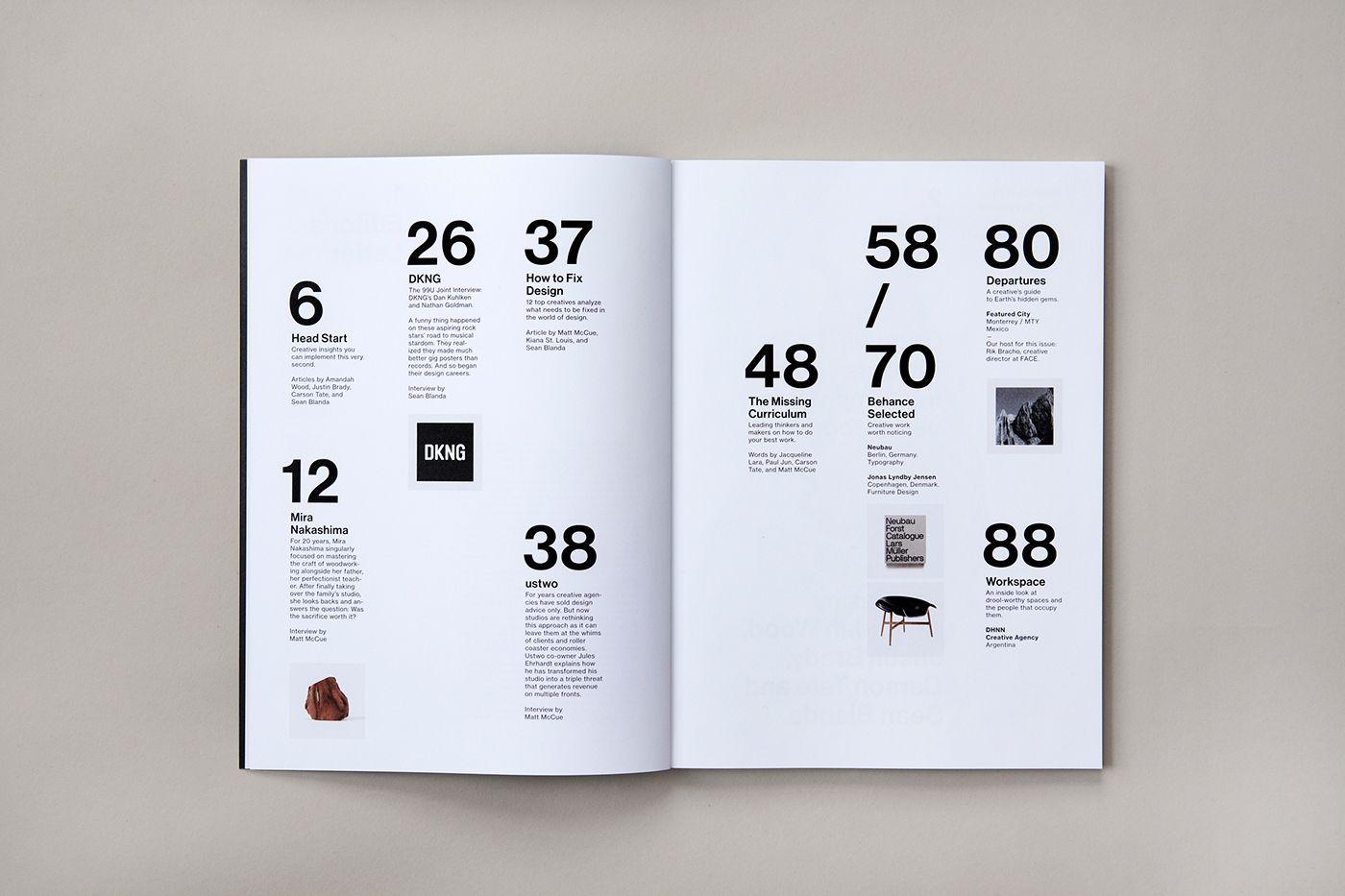 Ninety Nine U Magazine No 11 on Behance #summary #index #grid ...