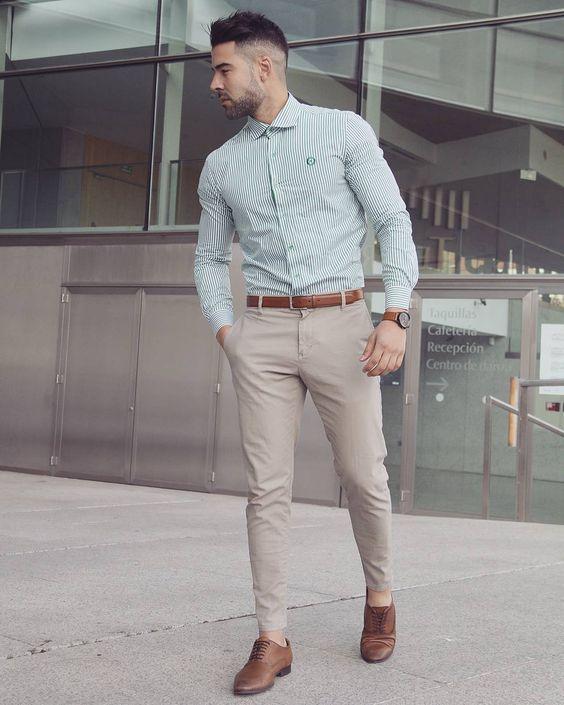 Camisa Camisaverde Pantalones Pantalon Chinos Pantaloneschinos Beige Lookdepr Ropa Semi Formal Hombre Moda Casual Para Hombre Vestimenta Casual Hombres